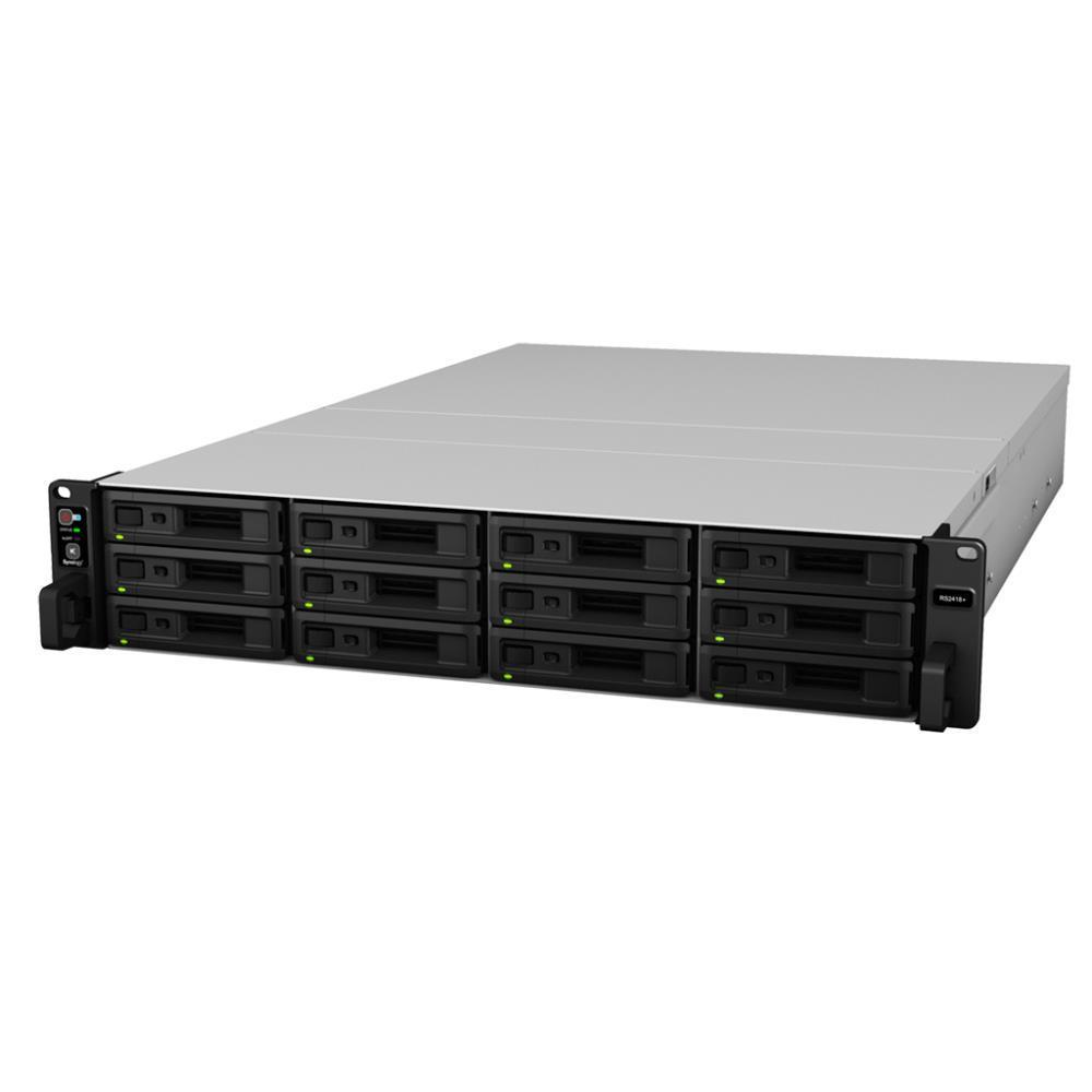 Сетевой накопитель Synology  Rack 2U QC2,1GhzCPU/4Gb(up to 64)/RAID0,1,10,5,6/up to 12hot plug HDDs SATA(3,5' or 2,5')(up to 24 with RX1217)/2xUSB/4GigEth(+1Expslot)/iSCSI/2xIPcam(up to 40)/1xPS/no rail RS2418+